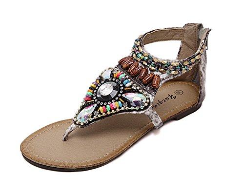 Calzado De Mujer Zapatos De La Playa De Bohemia Sandalias Del Dedo Del Pie Del Clip Beige