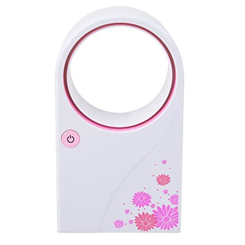 Yosoo Portable Mini USB 2.0 Handheld Flower Pattern Air Condition Bladeless Refrigeration Fans Desktop Cooler Mini USB Battery Powered No Leaf Air Conditioner (Pink)