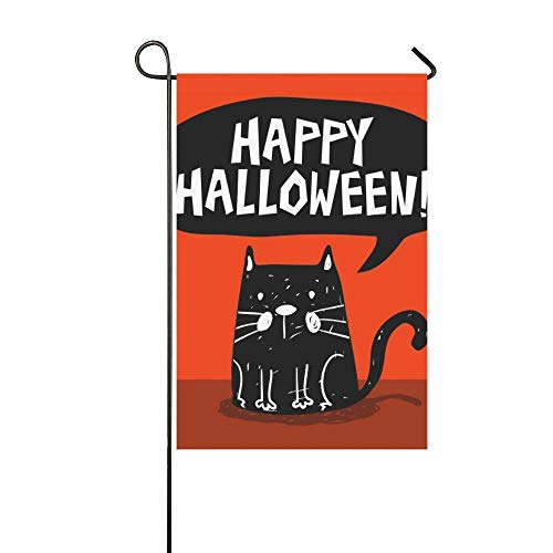 PIHJE Home Decorative Outdoor Double Sided Funny Halloween Greeting Card Black Cat Garden Flag,House Yard Flag,Garden Yard Decorations,Seasonal Welcome Outdoor Flag 12 X 18 Inch Spring Summer Gift ()