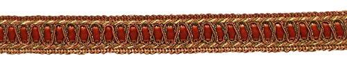 DecoPro 6 Yard Value Pack of Vintage 1 Inch (2.5cm) Wide Copper, Olive Green, Light Gold Gimp Braid Trim - Style# 100HG, Color: Rust 07 (18 Ft / 6.5M)