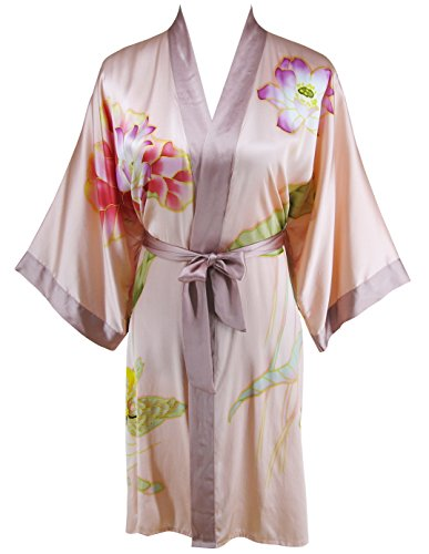 Ledamon Women's 100% Silk Kimono Short Robe - Classic Handpainted Enclosed in an Elegant Gift Box (Light Pink)