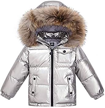 Kids Boys Girls quilted Down Coat Fur Hooded Cotton Padded toddler Parkas Jacket