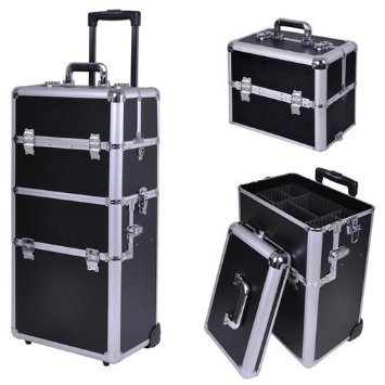 Triprel Inc Professional Portable Mobile Aluminum Pro 4in1 Train Cosmetic Makeup Case w/ Key Lock - Black by Triprel Inc