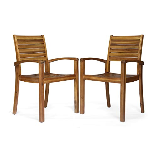 Great Deal Furniture 306431 Watts Outdoor Acacia Wood Dining Chairs, Teak Finish (Set of 2) (Teak For Furniture Outdoor Finishes)