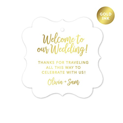 Andaz Press Personalized Out of Town Bags Fancy Frame Gift Tags, Welcome to Our Wedding Thanks for Traveling to Celebrate With Us, Metallic Gold, 24-Pack, Custom For Destination OOT Gable Boxes by Andaz Press
