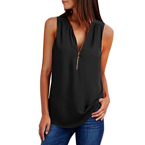 - 〓COOlCCI〓Womens Casual Sleeveless V Neck Cuffed Pleated Zip Up Chiffon Blouse Shirts Black