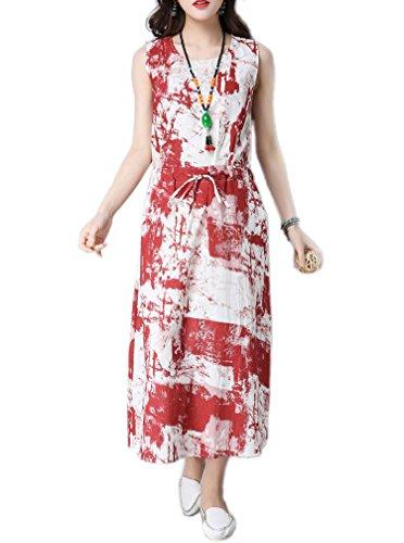 Cystyle - Vestido - trapecio - Sin mangas - para mujer Rote