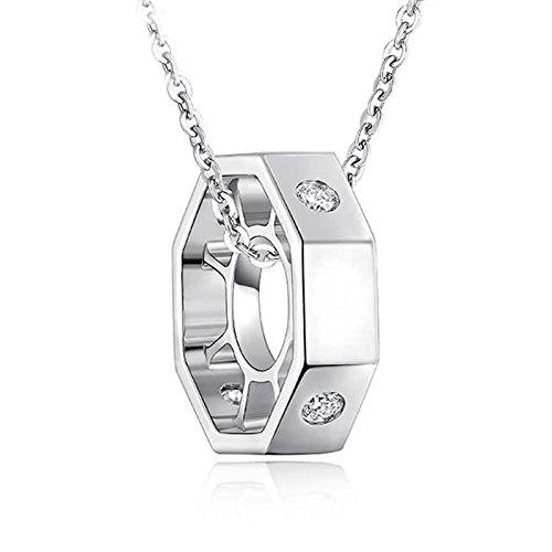 Adisaer 18k(750) White Gold Women Necklace Lucky Ferris Wheel Pendant Round Diamond Wedding Necklace by Adisaer