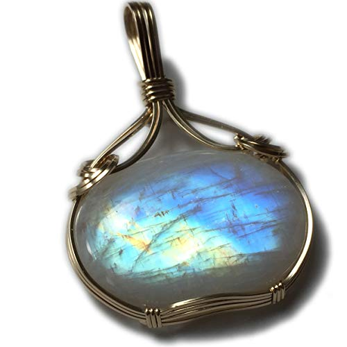 (Rocks2Rings Rainbow Moonstone Pendant Necklace - 14k Gold Filled with Black Leather Necklace Wire Wrapped Jewelry, Elegant Gift Box 42g4 ZP)