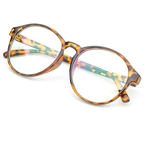 PenSee Oversized Circle Eyeglasses Frame Inspired Horned