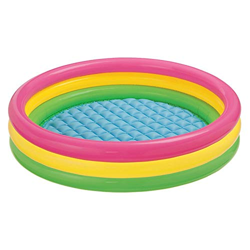 YYCYY Inflatable Family Pool Fast Set Round Folding Garden Outdoor Swimming Playing Pool Paddling Pool Crystal Blue 3 Ring Multi,Colored,147 33cm