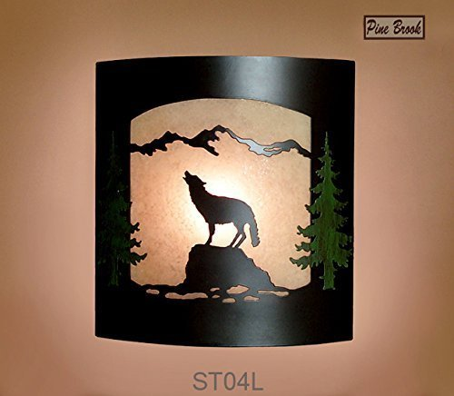 Wall Sconce Rustic Wolf Light, Cabin Decor Lamp, Hand-Painted Pine Tree Left Facing - Burnished Amber Finish