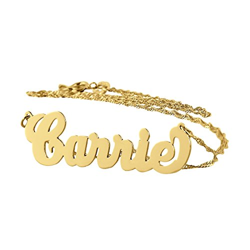 Soul Jewelry Personalized Name Necklace Solid 14k Gold Dainty Pendant Monogrammed Initial Charm. (16)