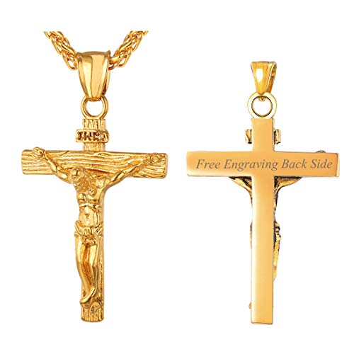 U7 Men Crucifix Cross Pendant 18K Gold Plated Jesus Religious Jewelry with Chain 24