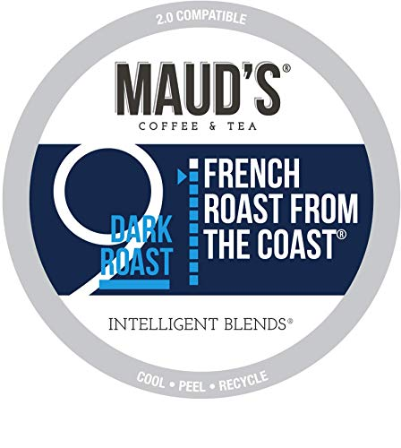Maud's French Roast Coffee, (French Roast from The Coast), 100ct. Recyclable Single Serve Coffee Pods - Richly satisfying arabica beans California Roasted, k-cup compatible including 2.0