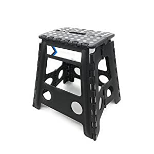 Folding Step Stool 16 Inches Height by Myth with Anti-Slip Surface Great for Kitchen, Bathroom, Bedroom, Kids or Adults Super Strong Holds Up to 330 LBS (Black)