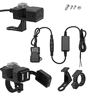 Deasengmins 9-24V Universal Moto Coche eléctrico USB ...