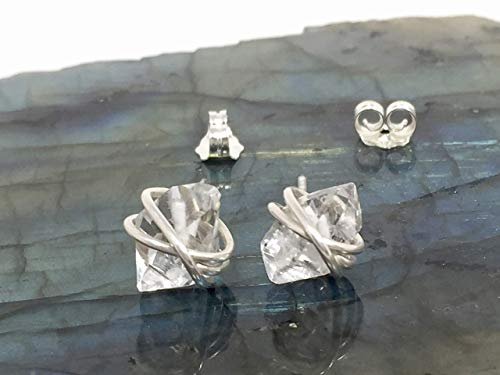 Herkimer Diamond Earrings, Large Size Argentium Stering Silver Wire and Backings Stud Earrings April Birthstone Herkimer Diamond Crystal Gift For Her
