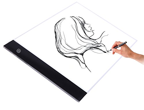 A4 Size Ultra-Slim Portable LED Light Box Tracer Light LED Artcraft Tracing Light Pad Light Box w 3 Level Brightness for Artists,Drawing, Sketching, Animation by JunTeck