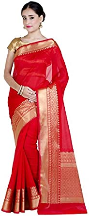Chandrakala Women's Cotton Silk Blend Indian Ethnic Banarasi Saree with Unstitched Blouse Piece(1