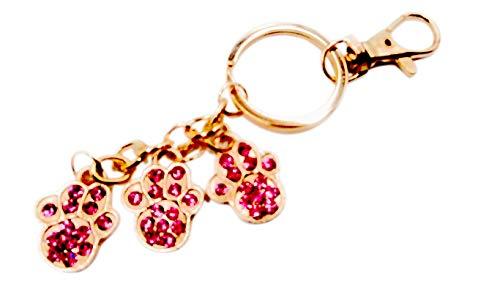 Paw Print Sparkling Rhinestone Key-Chain for Purse or Handbag or Cell Phone Pendant/Charm (5L x 1W, Pink Gold)