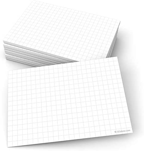 """321Done Grid Index Cards (Set of 50) 4"""" x 6"""", Graph-Ruled 0.25"""" Double-Sided, Thick Cardstock, Made in The USA, White"""