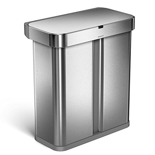 simplehuman 58 Liter / 15.3 Gallon Stainless Steel Touch-Free Dual Compartment Rectangular Kitchen Trash Can Recycler with Voice and Motion Sensor, Activated, Brushed