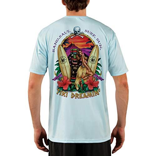 - SAND.SALT.SURF.SUN. Tiki Men's UPF 50+ Short Sleeve T-Shirt X-Large Arctic Blue