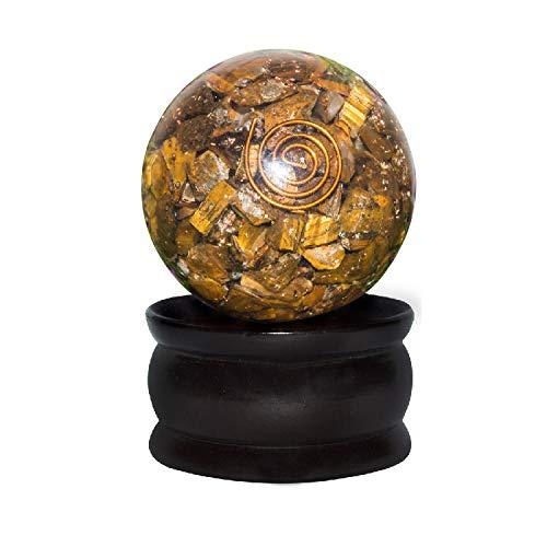 (FASHIONZAADI Tiger Eye Orgone Crystal Sphere Ball with Copper Spiral for Chakra Balancing Meditation EMF Protection Reiki Healing Gemstone Stone Energy Spiritual Gift Size 50-55 mm)