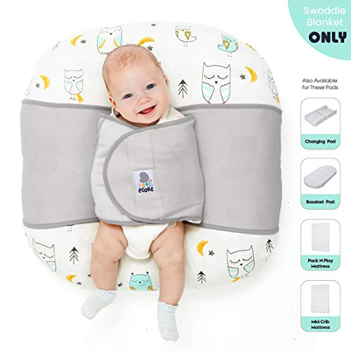 ECORE Baby Sleep Positioner,Premium Quality 2-in-1 Infant Safe Sleep Swaddle Blanket,Comfortable Cotton Fabric,User Friendly and Modern Design, Fit Baby Loungers and Pack N Play Mattresses,Gray
