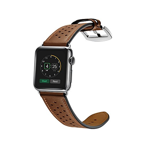 Kartice IWATCH049BN0142 Luxury Genuine Leather watch Band strap Bracelet Replacement Wrist Band With Adapter Clasp for iWatch Apple Watch & Sport & Edition--Single tour – brown – 42mm