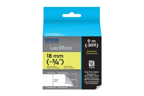 Epson LabelWorks Fluorescent LC Tape Cartridge ~3/4-Inch Black on Yellow (LC-5YBF9), Office Central