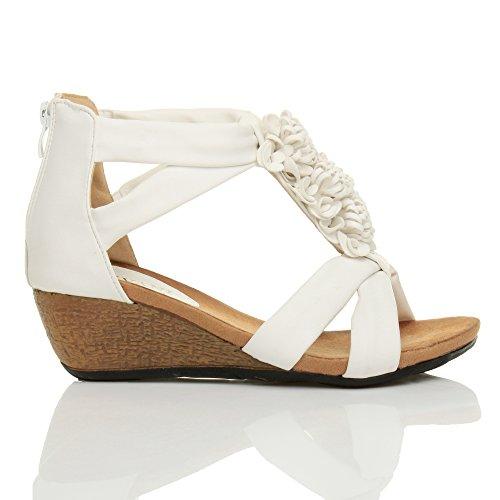 Sandalias tipo cuña para mujer, diseño de tira con flores, cremallera en el talón, tacón medio Blanco - White Matte
