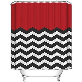 Amazon.com: Red Black And White Chevron - Shower Curtain Custom Made ...