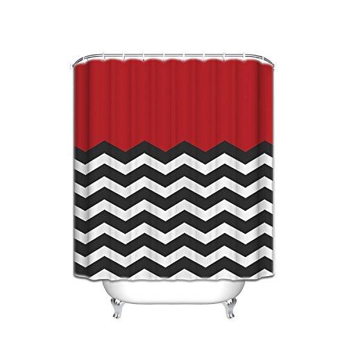 red black white shower curtain - 7