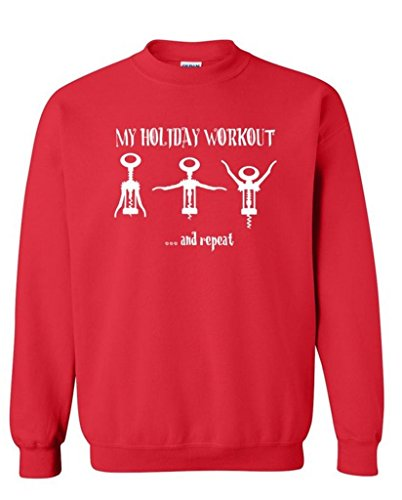 Price comparison product image icustomworld My Holiday Workout Crewneck Gag Wine Opener Sweatshirt L Red