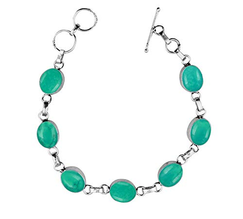 Genuine Oval Shape Turquoise Link Bracelet 925 Silver Overlay Handmade Vintage Bohemian Style Jewelry for Women Girls ()