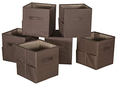 Storage Maniac 6-Pack Foldable Storage Cubes Basket Bins with Side Pockets, Full Coroplast Storage Organizer Drawers, Polyester Canvas, Dark Coffee