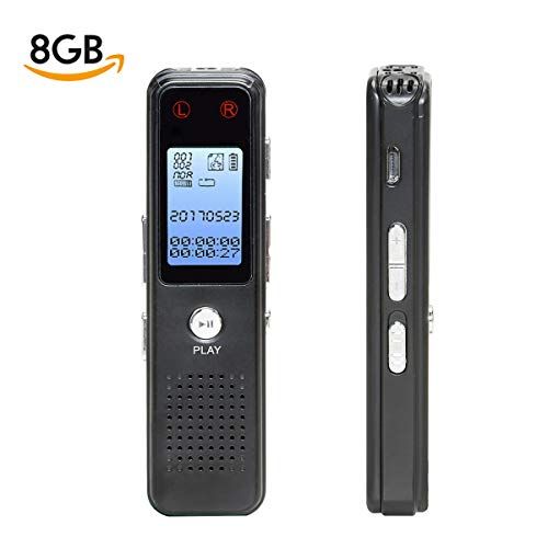 Digital Voice Activated Recorder, Monstleo 8GB Sound Audio Recorder Dictaphone for Lectures Meetings
