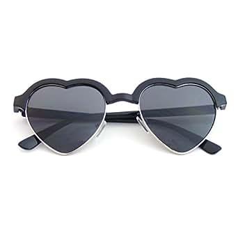 Cute Vintage Half Frame Inspired Heart Shape Sunglasses (Black)