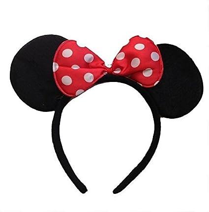 Blanco y Negro con lazo rojo diseño de lunares disfraz de Minnie Mouse oídos banda para