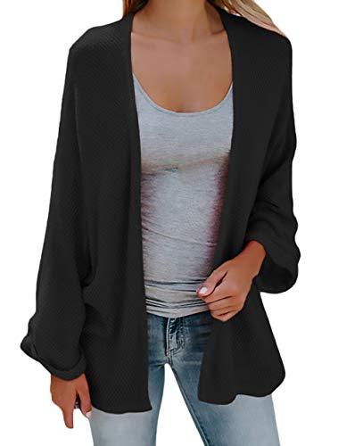 Chaqueta Chaquetas Negro Tejido Mujer Abrigo Moda Delgado Otoño Ropa Respirable Outerwear Anchos Unicolor Punto xPpHpBIRwn