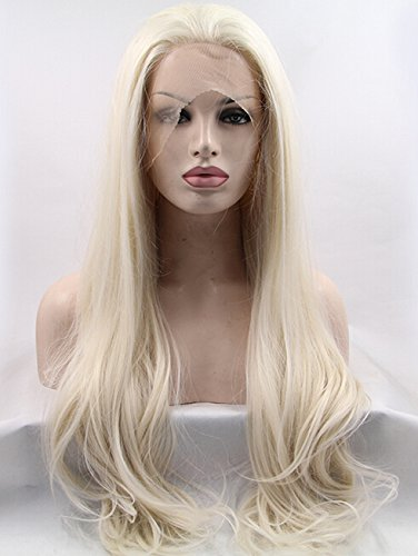 K'ryssma Platinum Blonde Glueless Synthetic Hair Lace Front Wigs Long Natural Straight Half Hand Tied Replacement Full Wig For Women Heat Friendly 26inch