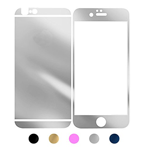 For iPhone 5 5S SE Screen Protectors, Gravydeals Best High Definition Tempered Glass Mirror Effect Anti Scratches Protective Decal Skin Sticker - Silver