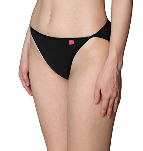Fashion Bikini Cotton String (Innersy Women's Underwear Strecth Cotton High-Leg String Bikini Panties (3 Pack) (Large(Waist:30.5