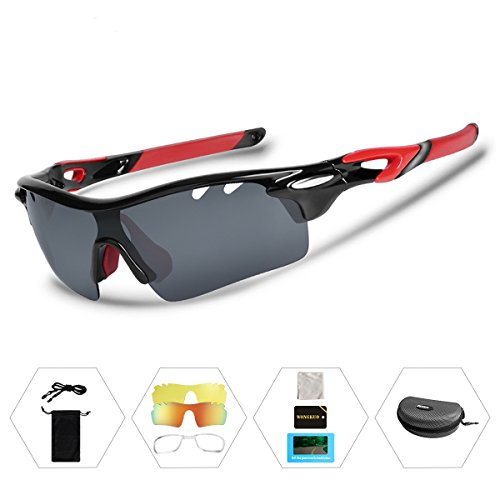Price comparison product image Wongkuo Polarized Sports Sunglasses with 3 Interchangeable Lenses for Cycling Baseball Running Fishing Driving Glasses