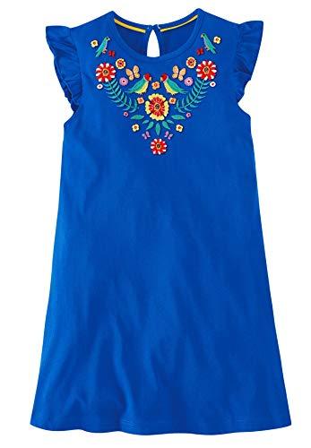 Fiream Girls Summer Casual Dresses Cotton Short Sleeves Flower Dresses (3T/3-4YRS, 186030)
