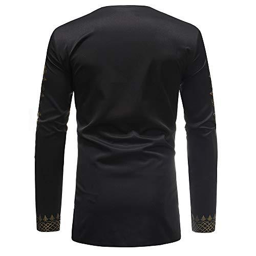 Sunenjoy Blouse Imprimé Ethenique Slim Top 3 Tee Boutonné Repassage Floral Noir Facile Style Mao Col Chemise Manches Homme Fit Casual Africain Shirt Long Longues 7a7rHwP