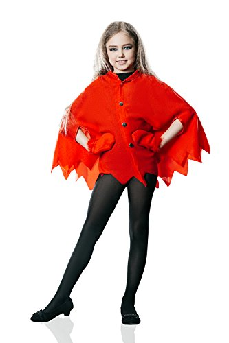 Kids Girls Little Devil Costume Flame Cape Halloween Party Evil Demon Dress Up (6-8 years, Red)