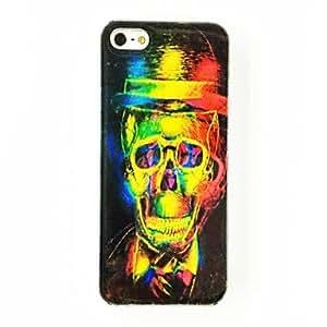 Punky del cráneo del sombrero del patrón TPU caso suave para el iPhone 5/5S , Multicolor
